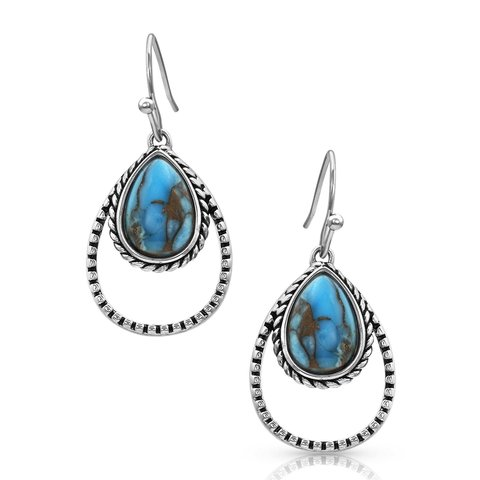 Double Rope Turquoise Teardrop Earrings