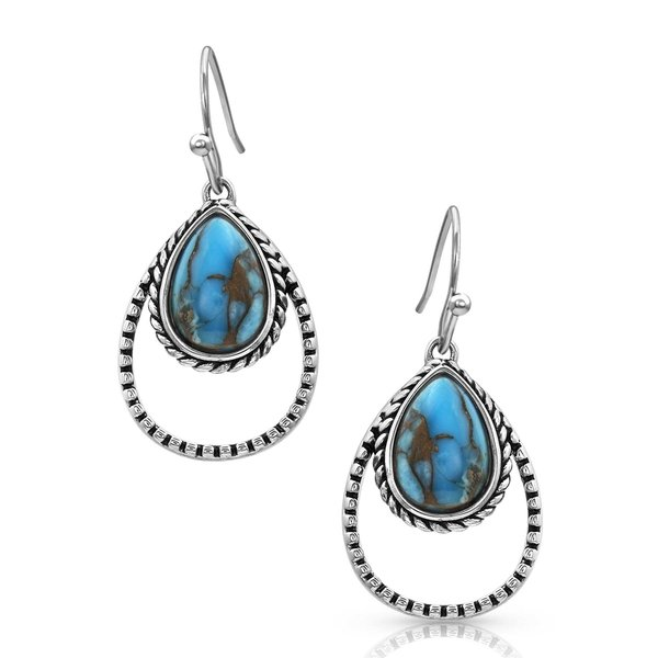 Montana Silversmiths Double Rope Turquoise Teardrop Earrings