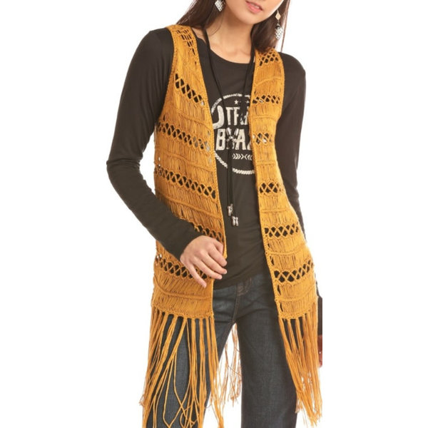 Rock and Roll Cowgirl Women's Mustard Crochet Vest