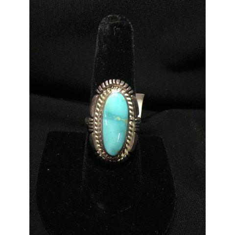 Long Oval Turquoise Ring Size 8