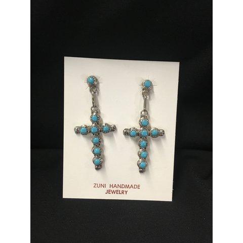 Zuni Handmade Turquoise Cross Earrings
