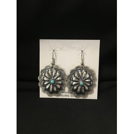 Genuine Indian Sterling Silver Concho Earrings