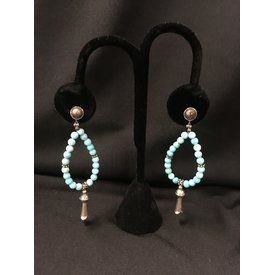 Paige Wallace Sterling Silver Navajo Turquoise Earrings