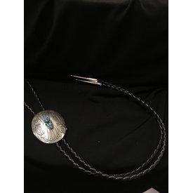 Zuni Handmade Silver/Turquoise Concho Bolo Tie