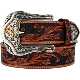 Tony Lama Men's Brown and Tan Tooled Belt