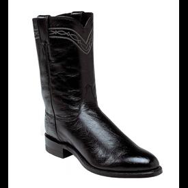 Justin Men's Black Smooth Ostrich Roper Boot
