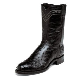 Justin Men's Black Full Quill Ostrich Roper Boot