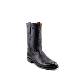Lucchese Men's Black Smooth Ostrich Roper Boot C5