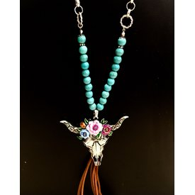 Wyo-Horse Floral Steer Skull Necklace