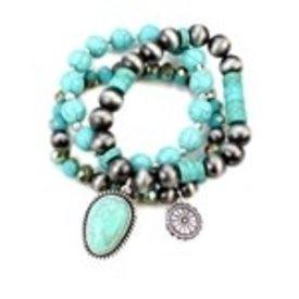 Wyo-Horse 3 Band Stackable Turquoise Bracelet