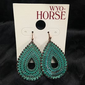 Wyo-Horse Boho Turquoise Teardrop Earrings