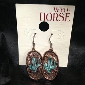 Wyo-Horse Copper Cactus Pendant Earrings