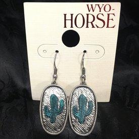Wyo-Horse Silver Cactus Pendant Earrings