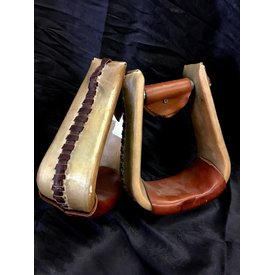 Metal Rawhide Covered Roper Stirrups