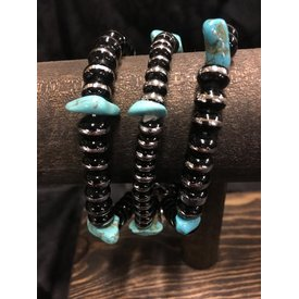 West & Co. Silver and Black Beaded Bracelet with Turquoise
