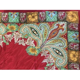 Wyoming Traders Charmeuse Annapurna Red Floral Wild Rag