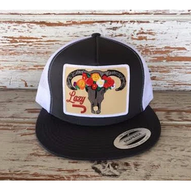 Lazy J Ranch Wear Floral Steer Skull Patch Hat