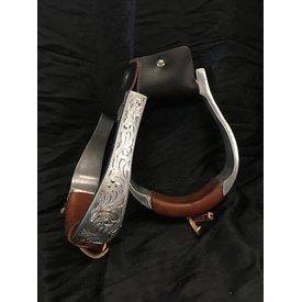 Classic Equine Round Engraved Metal Stirrups