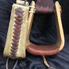 Metal Roper Stirrups with Chestnut Leather
