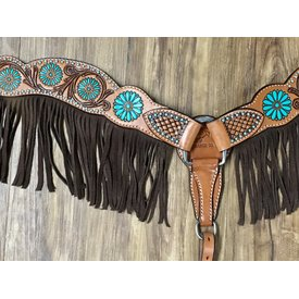 Rafter T Zuni Turquoise Fringe Breast Collar