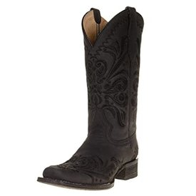 Circle G Women's Black Embroidered Square Toe Boot