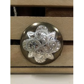 Large Iron Silver Flower Screw Conchos