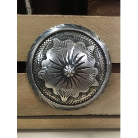 Large Antiqued Sterling Silver Flower Screw Concho