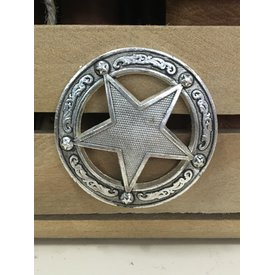 Large Silver Sheriff Star Screw Conchos