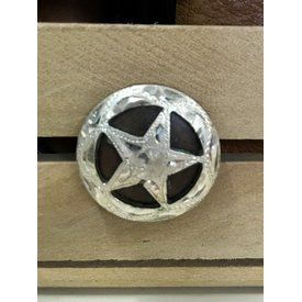 Medium Antique Engraved Silver Star Screw Concho