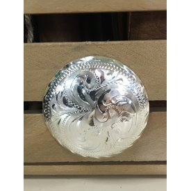 Large Silver Filigree Indented Edge Screw Concho