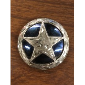 Large Black Silver Engraved Star CS Concho