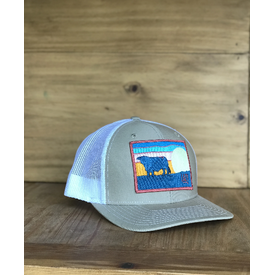 Lazy J Ranch Wear Sky Patch in Tan and White Cap