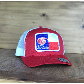 Lazy J Ranch Wear Texas Patch Red and White Cap