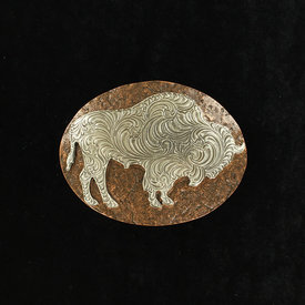 Nocona Belt Co. Silver and Copper Buffalo Buckle