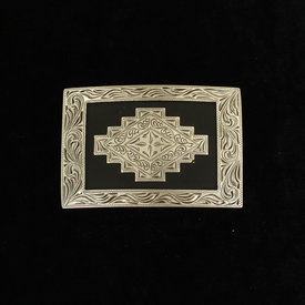 Nocona Belt Co. Silver and Black Aztec Buckle