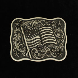 Nocona Belt Co. Black and Silver American Flag Buckle