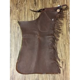 K Bar J Leather Working Shotgun Chaps with Fringe
