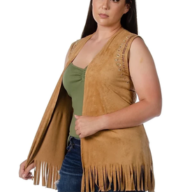 Liberty Wear My Tribe Tan Suede Vest Plus
