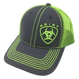 Ariat Grey/ Lime Green Kids Cap