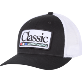 Classic Ropes Black Hat White Patch Cap