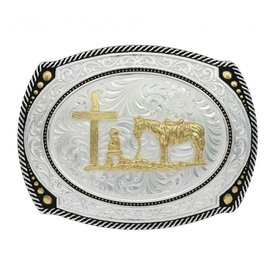 Montana Silversmiths Beaded Oval Christian Cowboy Buckle