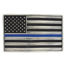 Montana Silversmiths Stand Behind the Blue Line Flag Buckle