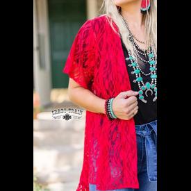 Crazy Train Red Lace Short Kimono