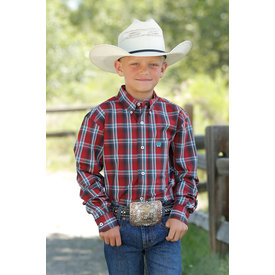 Cinch Boy's Red and Blue Plaid Button Down Shirt MTW7060234