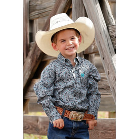 Cinch Toddler Boy's Grey Paisley Button Down Shirt MTW7061233