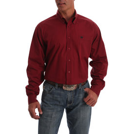 Cinch Men's Red and Black Print Button Down Shirt MTW1105033