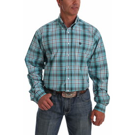 Cinch Men's Turquoise and Gray Ombre Plaid Button Down Shirt MTW1105028