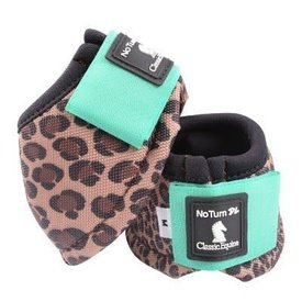 Classic Equine Dy-No Turn Cheetah Mint Bell Boots C3 Size Small