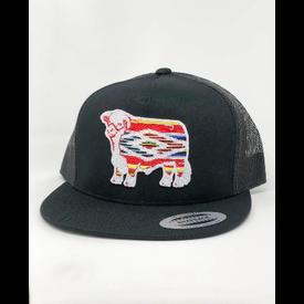Lazy J Ranch Wear Black Aztec Cow Cap