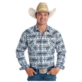 Panhandle Men's Black and White Aztec Snap Front Shirt